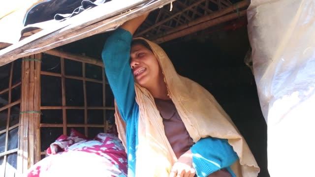 rohingya muslims, fled from violence over muslims in myanmar take shelter at leda unregistered rohingya camp in teknaf, bangladesh on november, 2016.... - grief stock videos & royalty-free footage
