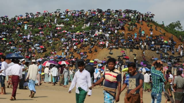 rohingya muslims living in southeastern bangladesh refugee camps gather to commemorate the second anniversary of the 2017 crisis when they were... - refugee camp stock videos & royalty-free footage