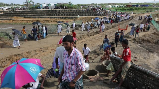 rohingya muslims living in southeastern bangladesh refugee camps gather to commemorate the second anniversary of the 2017 crisis when they were... - rohingya culture stock videos & royalty-free footage