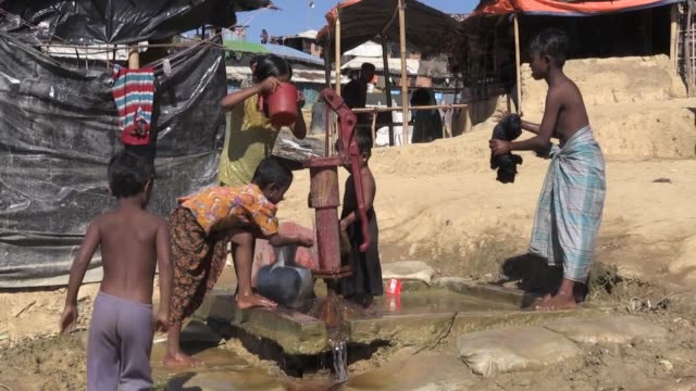 rohingya muslims who have fled persecution in myanmar and taken refuge in neighboring bangladesh since the beginning of a brutal military crackdown... - four animals stock videos & royalty-free footage
