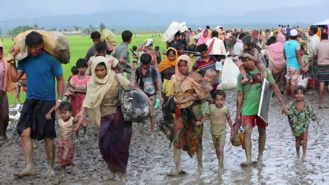 rohingya people fled from ongoing military operation in myanmar rakhain state entered bangladesh walks to go to refugee camp in tknaff in bangladesh... - myanmar stock videos & royalty-free footage