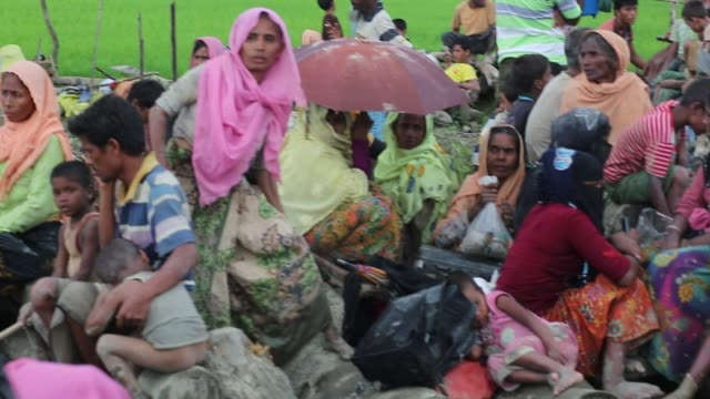 Rohingya people fled from ongoing military operation in Myanmar Rakhain state entered Bangladesh walks to go to refugee camp in Tknaff in Bangladesh...