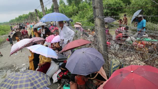 rohingya people fled from ongoing military operation in myanmar rakhain state entered bangladesh walks to go to refugee camp in tknaff in bangladesh... - killing people stock videos & royalty-free footage