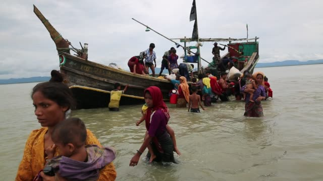 rohingya people, fled from ongoing military operation in myanmar rakhain state, entered bangladesh walks to go to refugee camp in tknaff in... - bangladesh stock videos & royalty-free footage