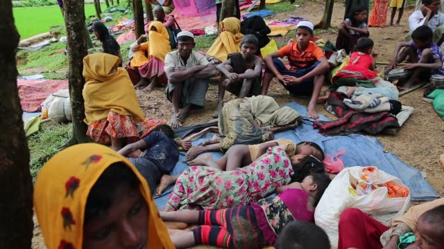 rohingya people, fled from ongoing military operation in myanmar rakhain state, entered bangladesh walks to go to refugee camp in tknaff in... - mass murder stock videos & royalty-free footage