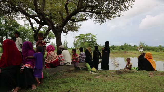 rohingya people fled from ongoing military operation in myanmar rakhain state entered bangladesh and staying in no man's land in coxs bazaar in... - cox's bazaar stock videos and b-roll footage