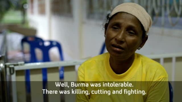 rohingya refugees from burma kept in appalling conditions int asha interview sot burma was intolerable we get a bit of peace here reporter ext rain... - rohingya culture stock videos and b-roll footage