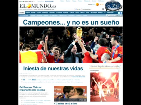 roja clinched world cup victory over the dutch on sunday with a onenil win in extratime in spain the media hailed an historic day for the country - 2010 stock videos & royalty-free footage