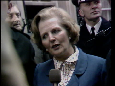 roland millar dies lib london downing street ext gvs margaret thatcher husband denis arriving at no10 to take up residency margaret thatcher intvwd... - apt stock videos and b-roll footage