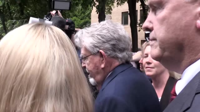 rolf harris leaves southwark crown court in london after prosecutors said that they will not seek a second retrial after the jury was discharged when... - サウスワーク刑事法院点の映像素材/bロール