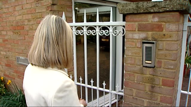 doorstep england berkshire ext reporter speaking into entrance gate intercom at home of rolf harris and asking about reports of his arrest to which... - intercom stock videos and b-roll footage