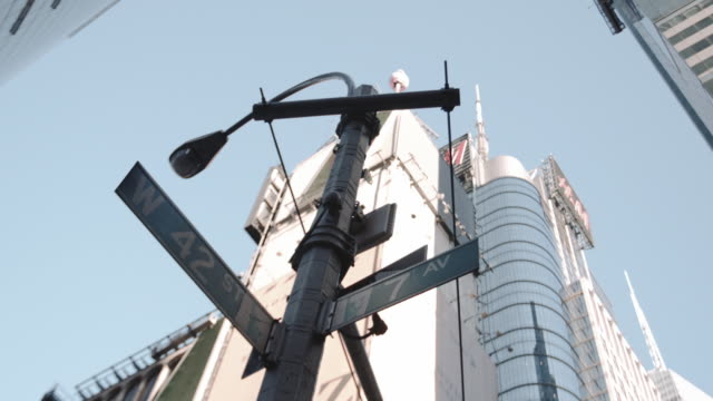 B Roll footage of a 42nd street sign in Midtown Manhattan