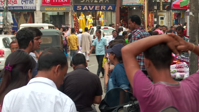B Roll of busy street market in Guwahati Assam India