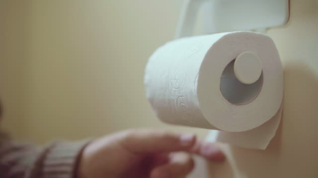 vídeos de stock, filmes e b-roll de roll of toilet paper domestic toilet - domestic bathroom