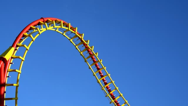 roller coaster in front of blue sky, prater, vienna, vienna, austria, europe - vergnügungspark stock-videos und b-roll-filmmaterial