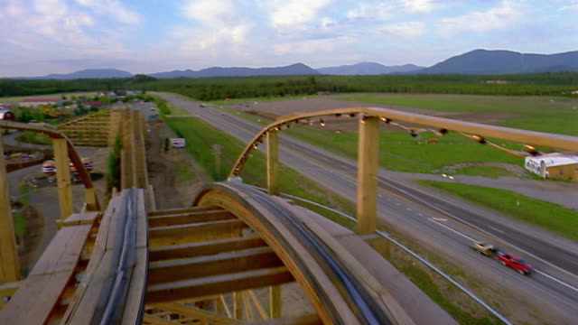 roller coaster point of view climbing uphill / down hill / entire ride - rollercoaster stock videos & royalty-free footage