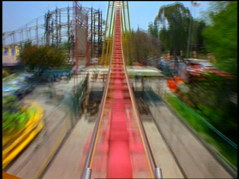 Roller coaster point of view thru loop, up hill + back thru loop backwards