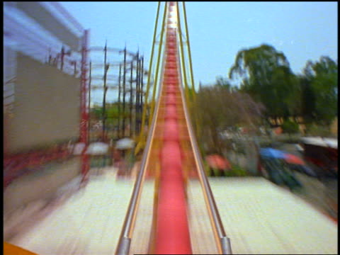 FAST roller coaster point of view thru loop, up hill + back thru loop backwards