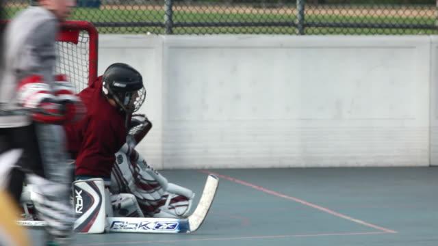 ms sf roller hockey goalie making saves, burbank, california, usa - pacific islander background stock videos & royalty-free footage