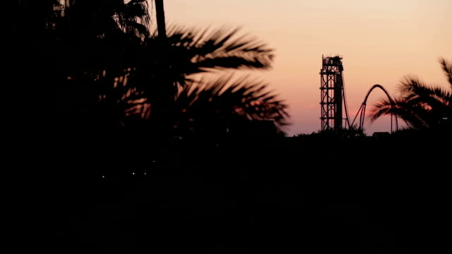 rollercoaster at dusk - orlando florida stock videos & royalty-free footage