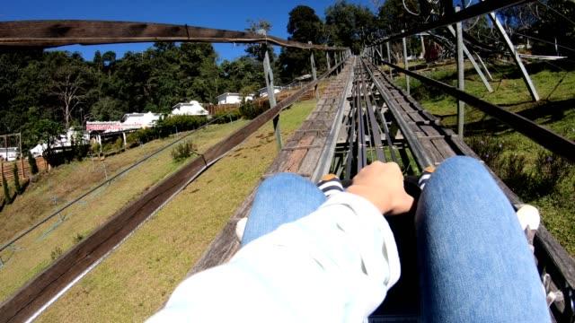 pov : rollercoaster ride - roller coaster stock videos & royalty-free footage