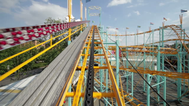 rollercoaster ride (part 1/3) - rollercoaster stock videos & royalty-free footage