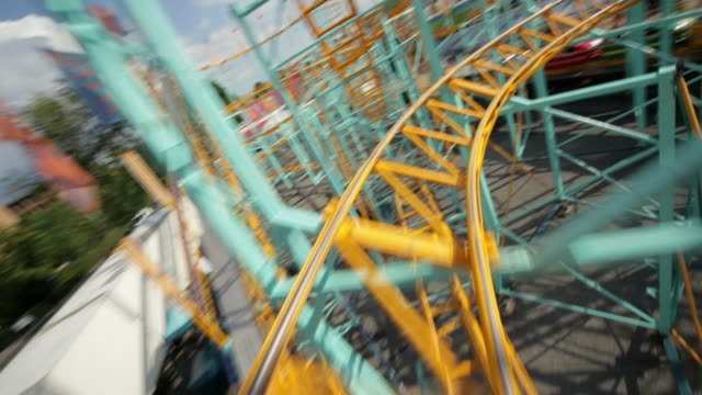 rollercoaster ride (part 3/3) - rollercoaster stock videos & royalty-free footage