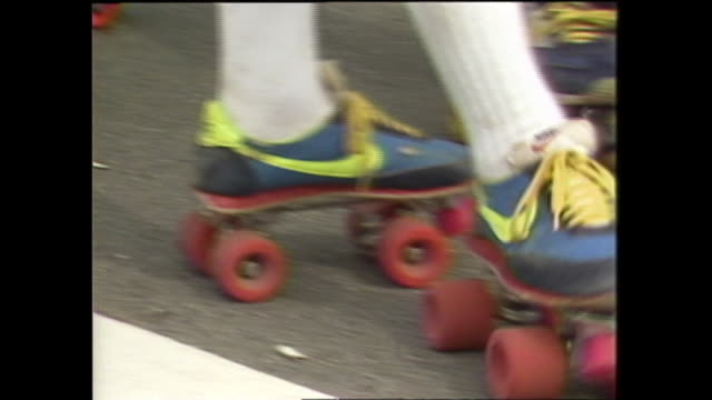 rollerskaters gather in yoyogi park. - 1980 stock videos and b-roll footage