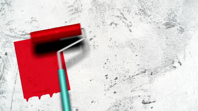 rolling brush with red paint - paint roller stock videos & royalty-free footage