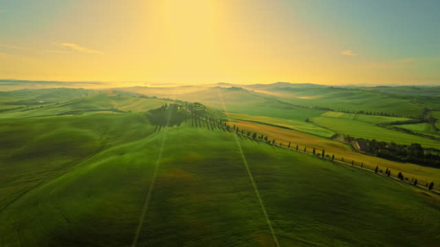 AERIAL Rolling countryside in the Tuscany