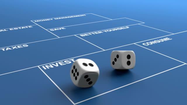 vídeos de stock, filmes e b-roll de rolling dices investir - número 6