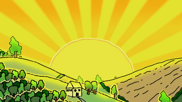 vídeos de stock e filmes b-roll de rolling doodled paisagem com a alucinante sol, loopable - animation moving image