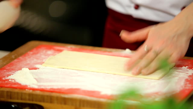 rolling dough with a rolling pin