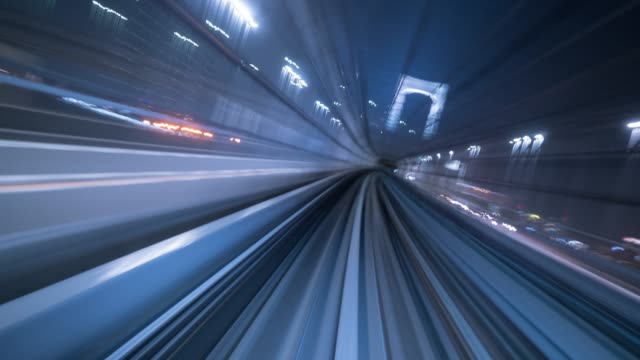 rolling in tunnel,timelapse - eccitazione video stock e b–roll
