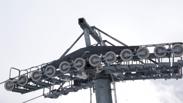 rolling parts of ski lift - pulley stock videos & royalty-free footage