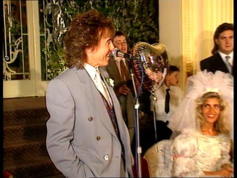 rolling stone bill wyman wedding; cms mandy smith bill wyman making speech - thrilled to be getting married sof cms jerry hall intvwd - thinks... - spike milligan stock videos & royalty-free footage