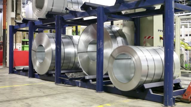 Rolls of steel sit ahead of use inhome appliance ranges at Gorenje dd's manufacturing and assembly facility in Velenje Gorenje white goods factory in...