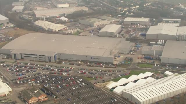 rolls royce plant aerial views; rolls royce plant aerial views; england: derbyshire: derby: ext air views / aerials rolls royce plant and buildings - rolls royce stock videos & royalty-free footage