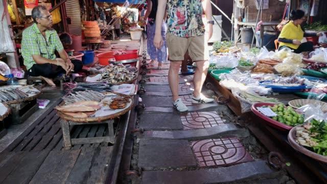 rom hup mae klong railroad tracks market (train market), samut songkram, thailand. - antique stock videos & royalty-free footage