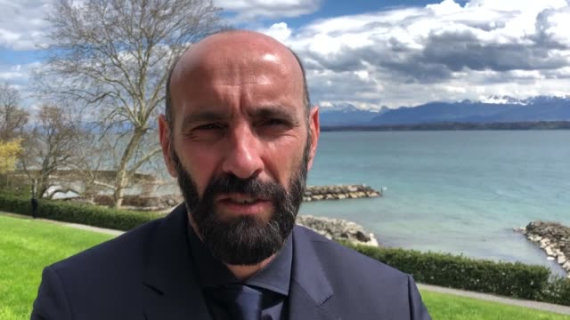 roma sporting director ramon rodriguez verdejo, commonly known as monchi, speaks at an interview after the semi-final draw of the uefa champions... - semifinal round stock videos & royalty-free footage