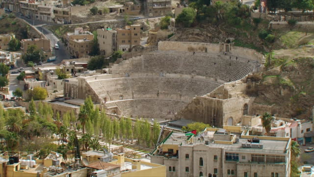 ws ha roman amphitheater in amman / jordan - amphitheater stock videos & royalty-free footage