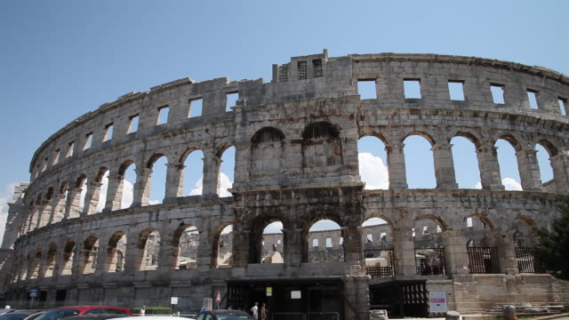roman amphitheater, pula - amphitheatre stock videos & royalty-free footage