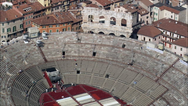 roman amphitheatre  - aerial view - veneto, provincia di verona, verona, italy - amphitheater stock videos & royalty-free footage
