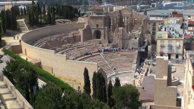 roman amphitheatre - cartagena, spain - amphitheatre stock videos & royalty-free footage