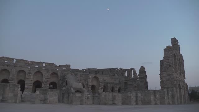 roman amphitheatre of thysdrus with half moon - half moon stock videos & royalty-free footage