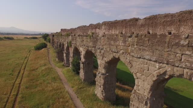roman aqueduct. parco degli acquedotti - aqueduct stock videos and b-roll footage