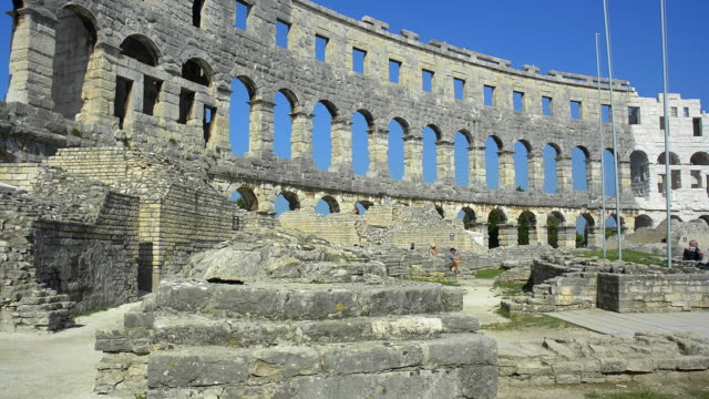 roman arena in the amphitheater. - croazia video stock e b–roll
