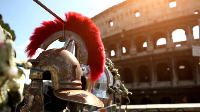 roman centurion soldier helmets and the coliseum - work helmet stock videos & royalty-free footage