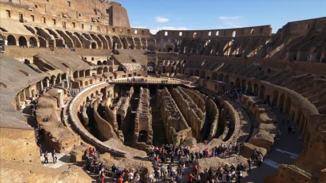 vidéos et rushes de roman colosseum interior shows architectural details in rome, italy (locked down) - gladiateur