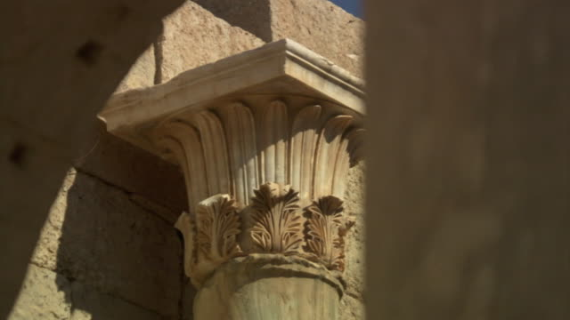 roman columns decorate the ruins of leptis magna in libya. - architectural column stock videos & royalty-free footage